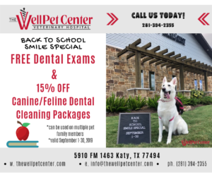 Back to School - Healthy Pet Promotion - The WellPet Center - Katy, TX